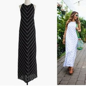 J Crew | Black Linen Chevron Maxi Dress Lined 4